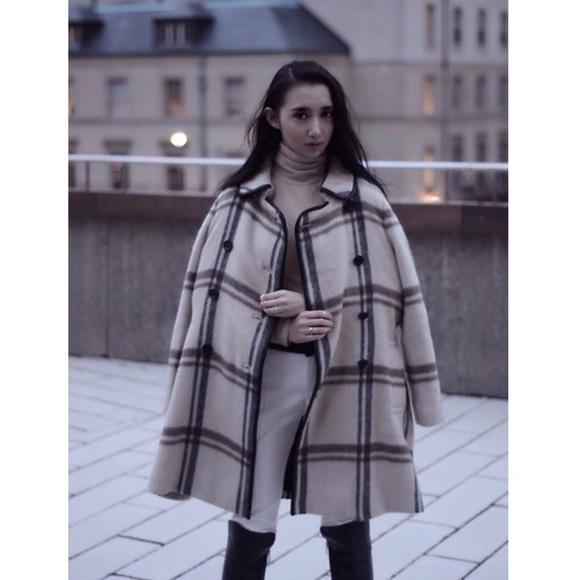 Club Monaco Jackets   Coats   Nadine Plaid Wool Leather Trim Coat ... 0d40fb40618